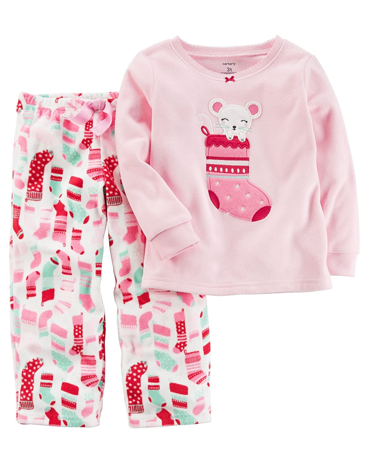 Carters Girls 2T-4T Mouse Stocking Fleece Pajamas