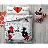 """Set di biancheria da letto con scritte """"Minnie"""", """"Mickey"""" e """"Perfect Match"""", con copripiumino per letto matrimoniale queen size, idea regalo per San Valentino, al 100% in cotone, include 4pezzi"""