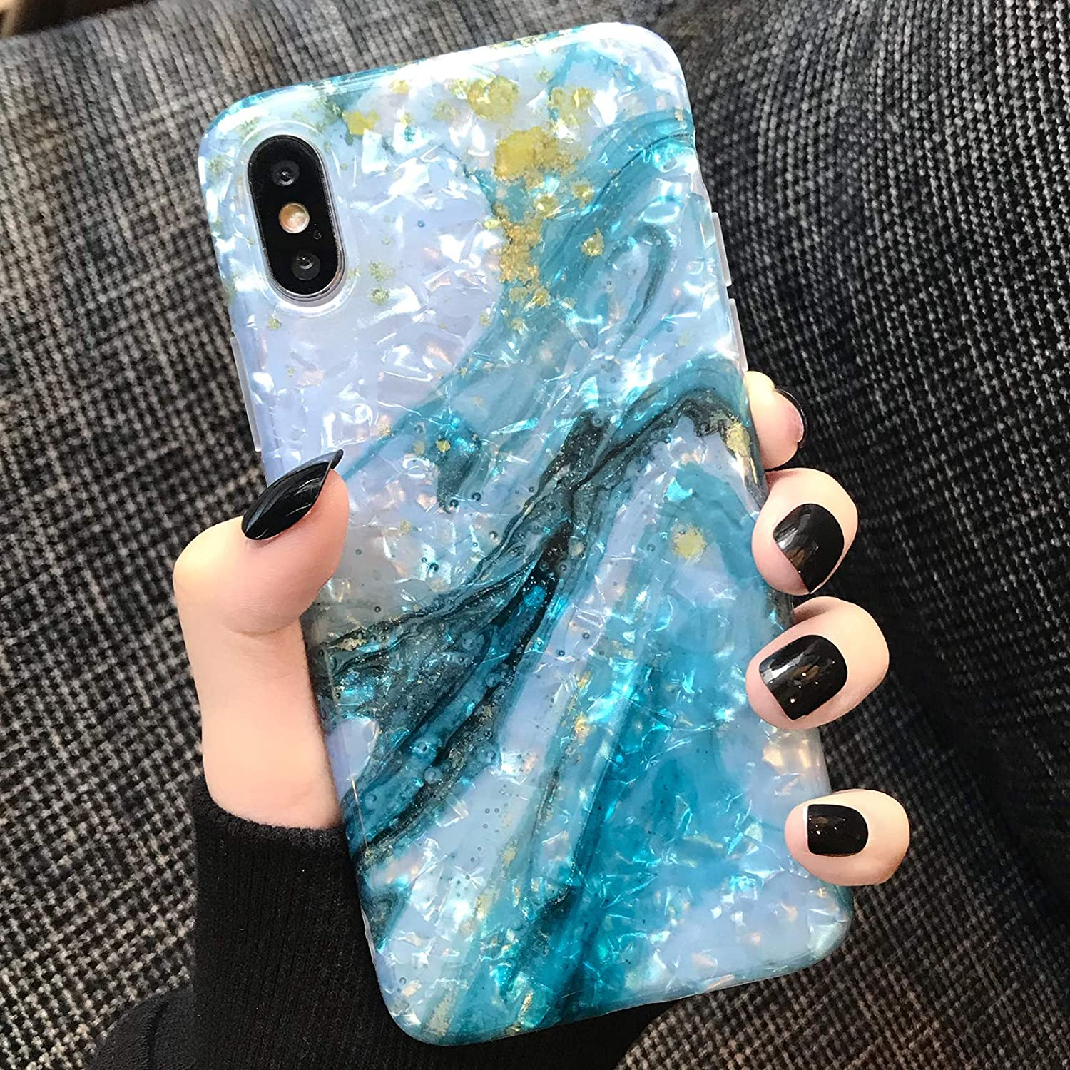 Compatible with iPhone X Case Marble iPhone 10/Xs Case Girls Women Cute [Tinfoil] Pearly Glitter Phone Case Protective TPU Cover Case for iPhone X/Xs 5.8 inch (Blue White)