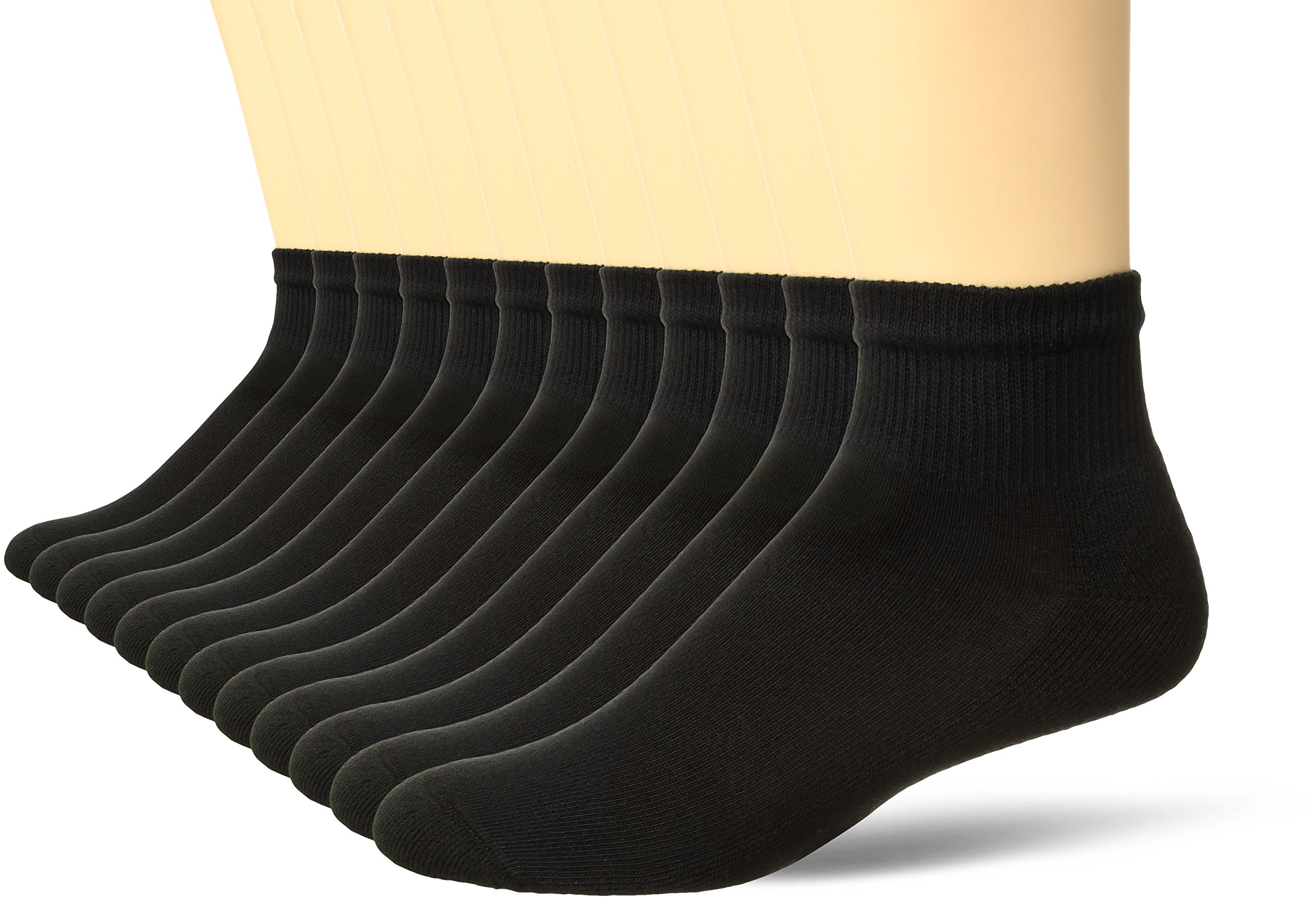 Hanes Men's Active Cool 12-Pack Ankle Socks, Black, 6-12 by Hanes (Image #1)