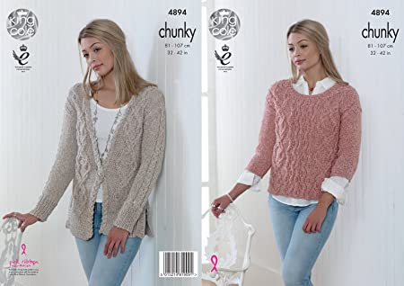 7ad3bf35963e8c Image Unavailable. Image not available for. Colour  King Cole 4894 Knitting  Pattern Womens Cardigan and Sweater in King Cole Authentic Chunky