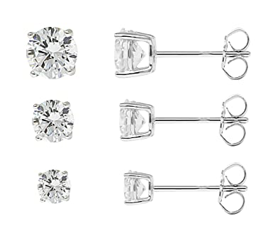 6 Pairs of Round Cubic Zircon Stud Earrings 925 Sterling Silver Nails 3mm 4mm 5mm 6mm 7mm 8mm Elegant Earrings D5zQB0