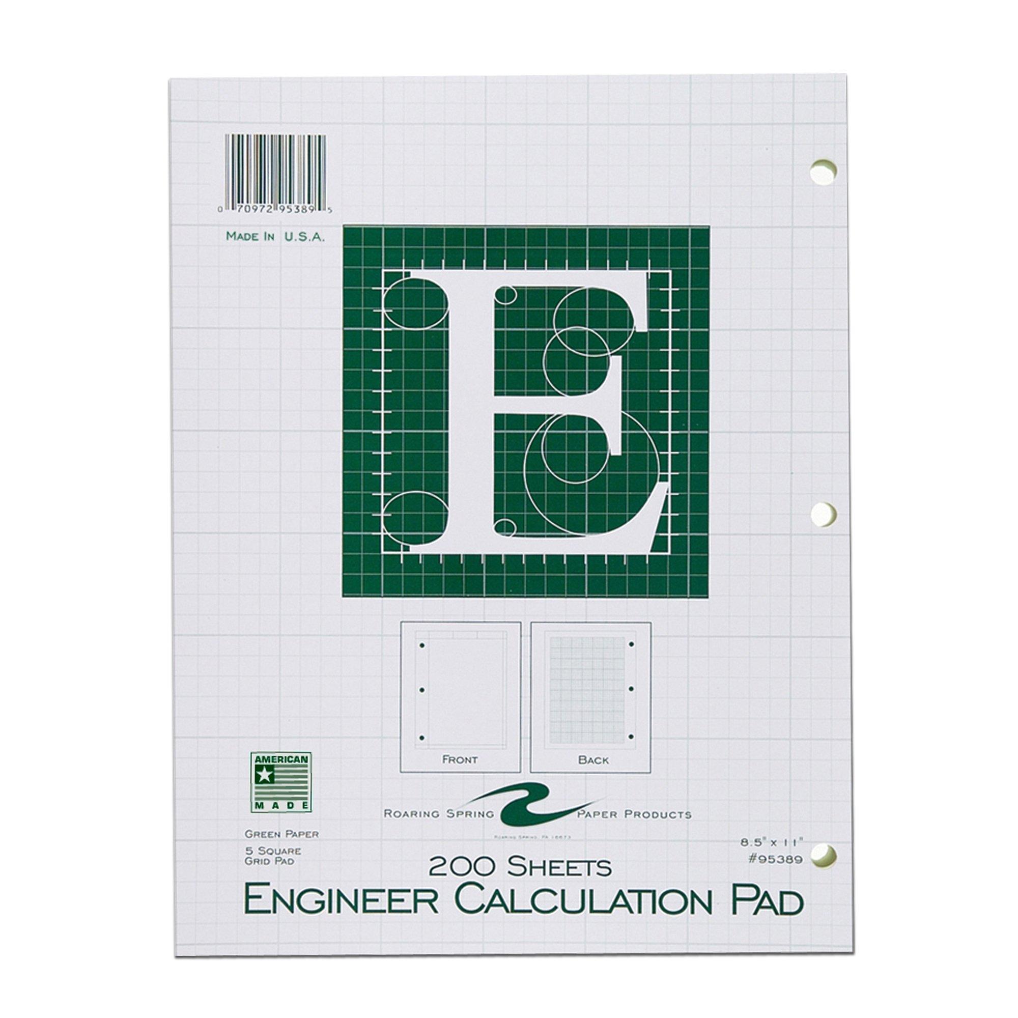 Roaring Spring Engineering Pad, 8.5'' x 11'', Green, 200 sheets