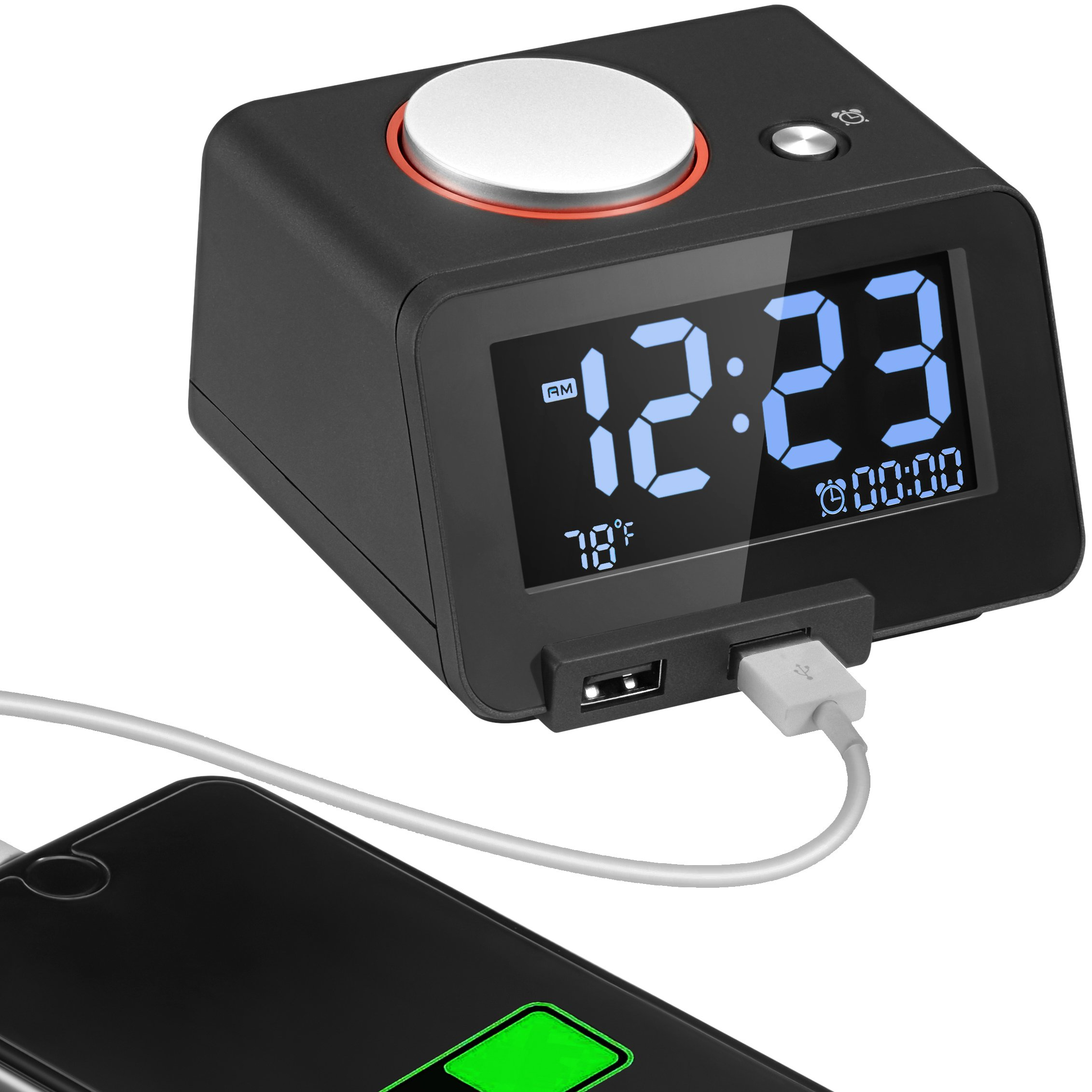 Homtime Alarm Clock USB Charger for Bedroom,2 USB Charging Ports Phone Charger for Iphone and Android,Snooze Fuction, 4 Dimmer Larger Font Display and Temperrature [Upgraded Version](Black)
