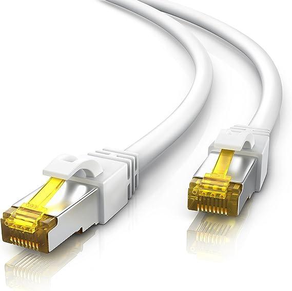 Primewire 15m Cable de Red Gigabit Ethernet Cat 7-10000 Mbit s - Cable de Conexión - Cable Cat7 en Bruto con apantallamiento S FTP PIMF y Conector ...