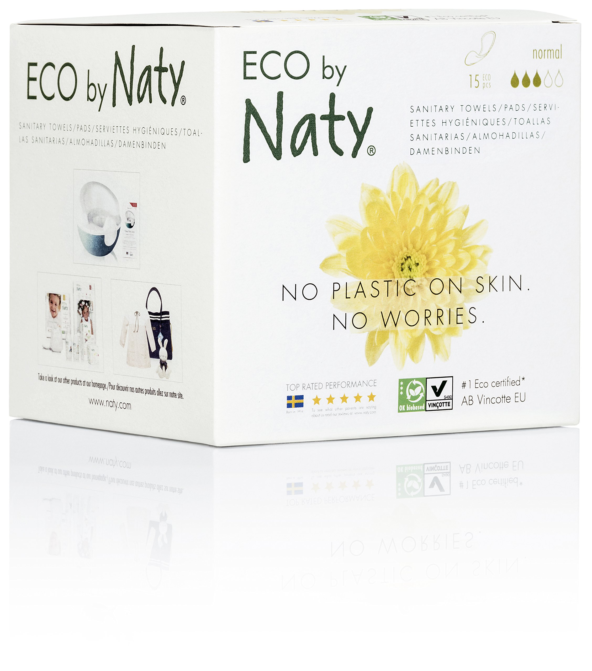 Eco by Naty Certified Thin Sanitary Pads, Normal, 15 Pads (Chemical-Free