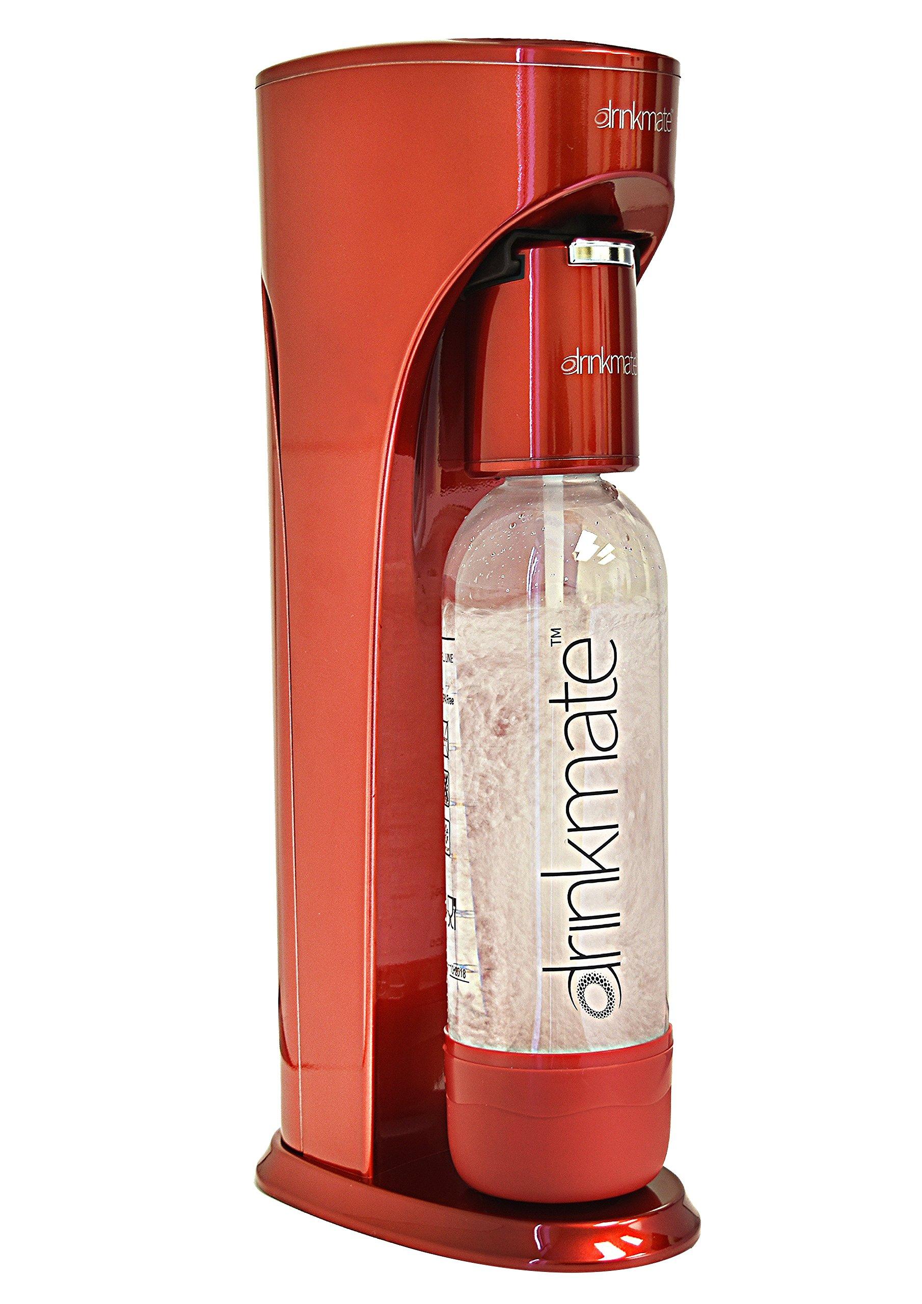 Drinkmate Beverage Carbonation Maker with 3 oz Cylinder, Red