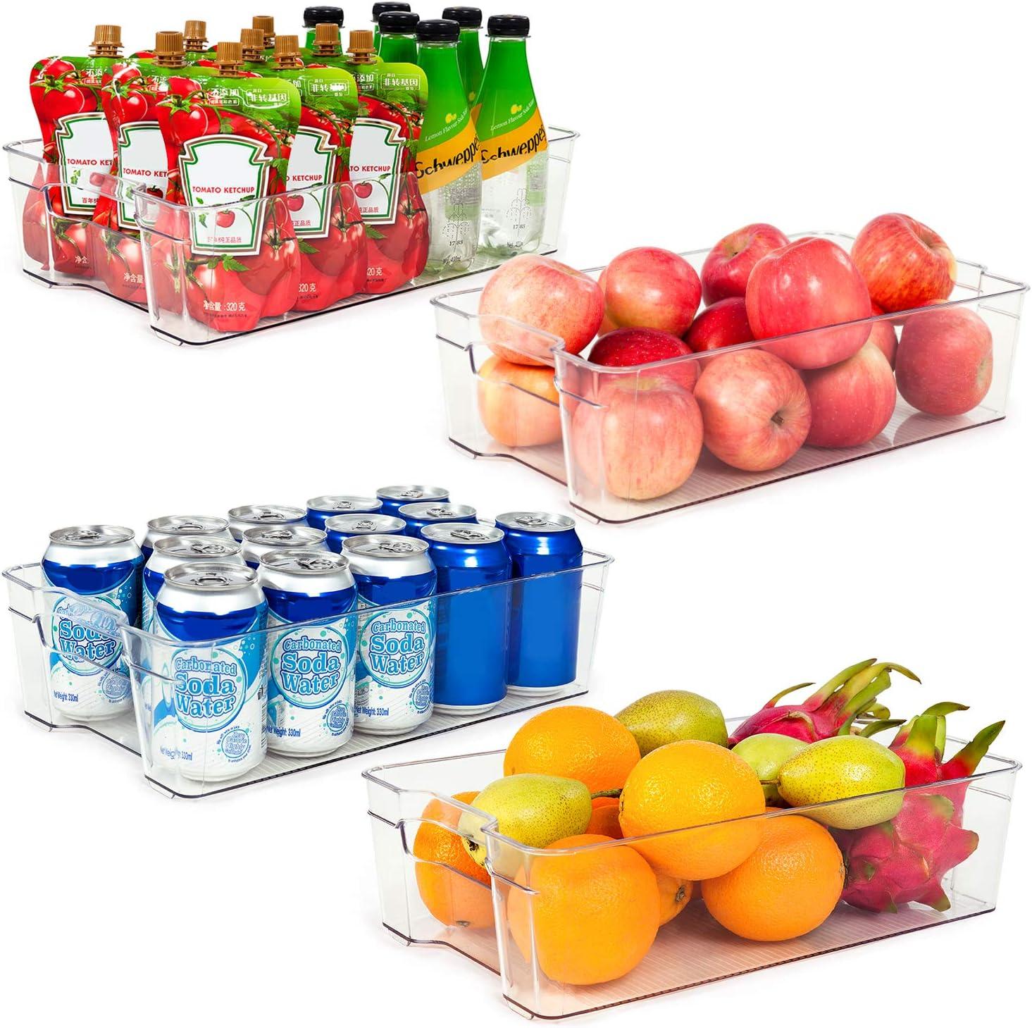 "Refrigerator Organizer Bins, Vtopmart 4 Pack Large Clear Plastic Food Storage Bin with Handle for Freezer, Cabinet, Fridge, Kitchen Pantry Organization and Storage, BPA Free, 14.5"" Long"