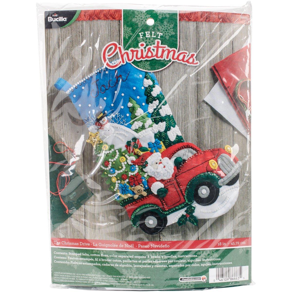 Bucilla 86663 Felt Applique Stocking Kit, The Christmas Drive, Size 18-Inch Plaid Inc