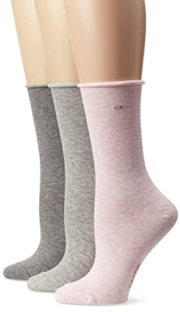 Calvin Klein Women s 3 Pack Cotton Roll Top Crew Socks at Amazon Women s  Clothing store  Casual Socks 199525566