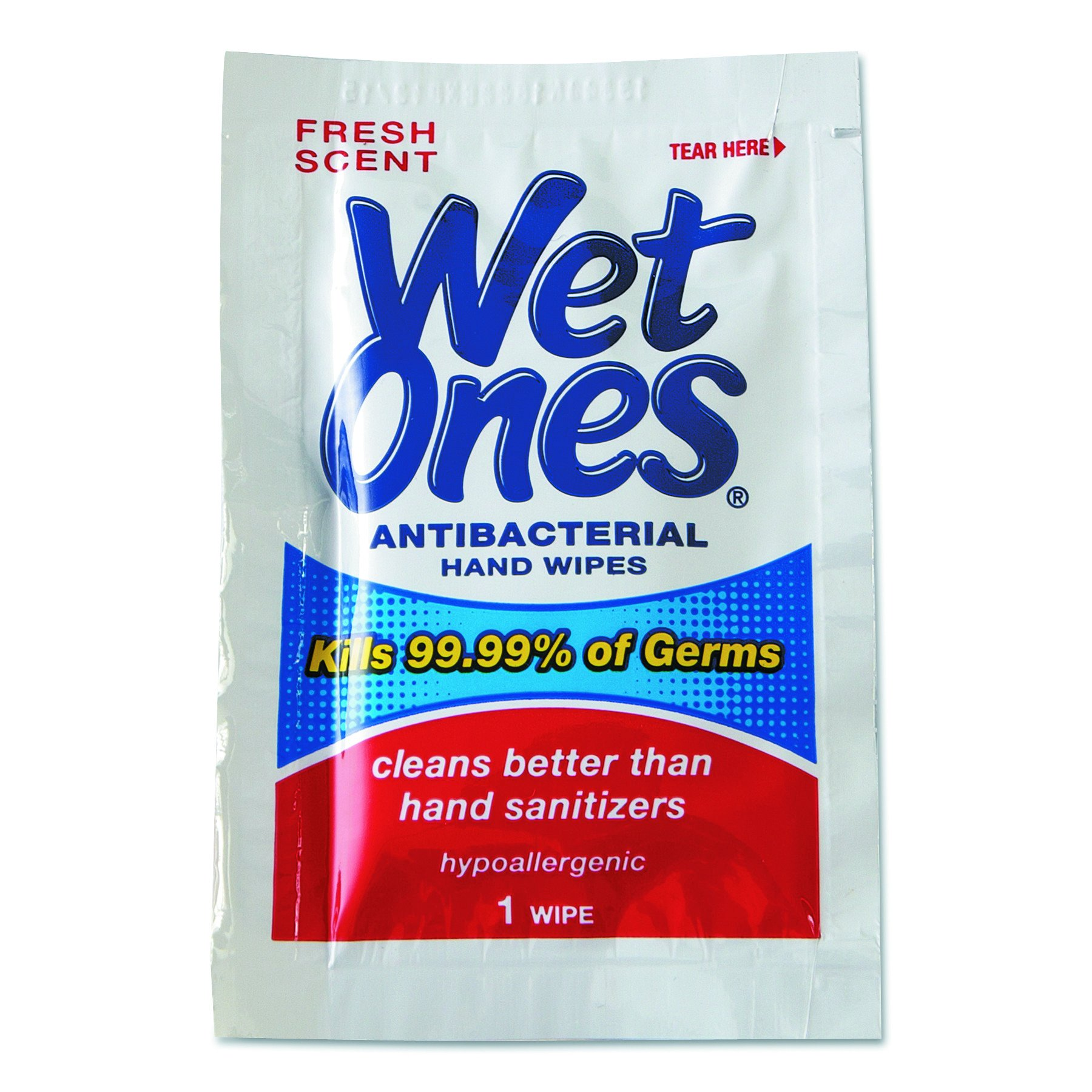 Wet Ones 4723 Antibacterial Individually Wrapped Single Wipe 24-Count (Case of 10)