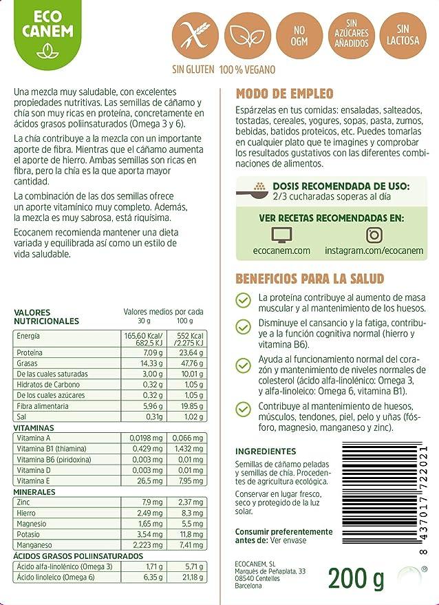Semillas peladas de cáñamo con chía ECO. 100% Vegano. Really Raw. 200 g.: Amazon.es: Alimentación y bebidas