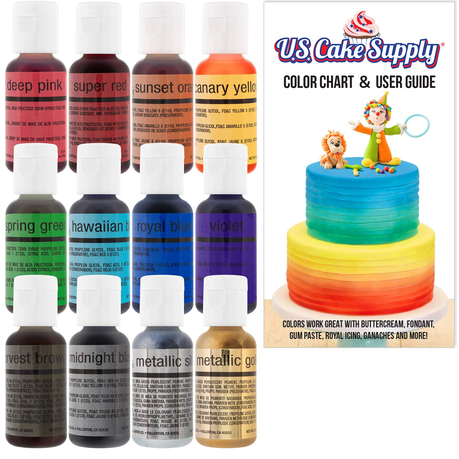 U.S. Cake Supply by Chefmaster Airbrush Cake Color Set - The 12 Most Popular Colors in 0.7 fl. oz. (20ml) Bottles by U.S. Cake Supply