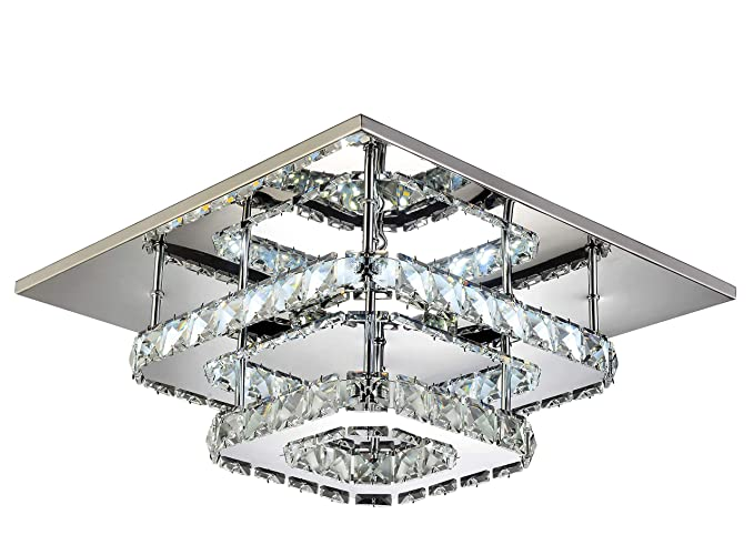LED Crystal Round Square Chandelier Style Modern Ceiling Light Lamp Aisle Home