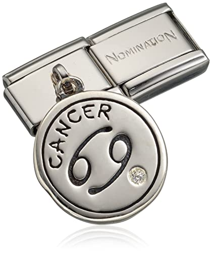 Nomination Composable Women s Charm with Cancer Zodiac Silver Oxidised Stainless Steel-White Zirconia - 031714/04 gCax5qHK