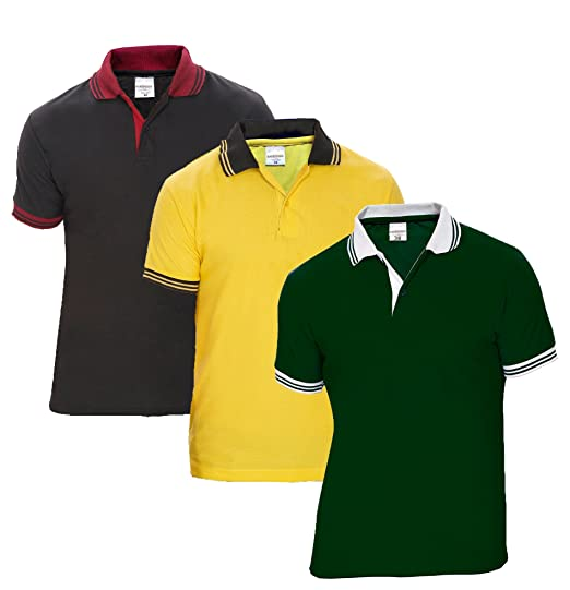 fe03c4e9 Baremoda Men's Polo T Shirt Dark Green Yellow Black Combo Pack of 3 (Small)