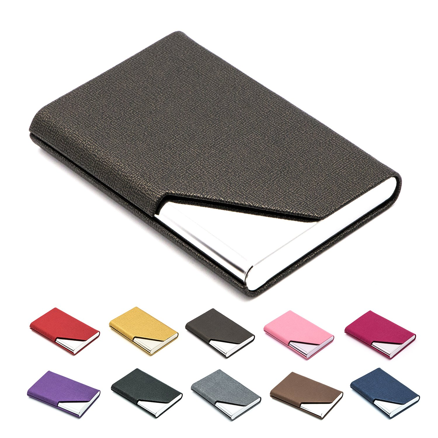 Business Name Card Holder Luxury PU Leather & Stainless Steel Multi Card Case,Business Name Card Holder Wallet Credit Card ID Case/Holder for Men & Women - Keep Your Business Cards Clean (Gray) ¡­ padike