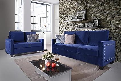 Kings Brand Furniture 2 Piece Blue Velvet Upholstered Nailhead Sofa U0026  Loveseat Living Room Set