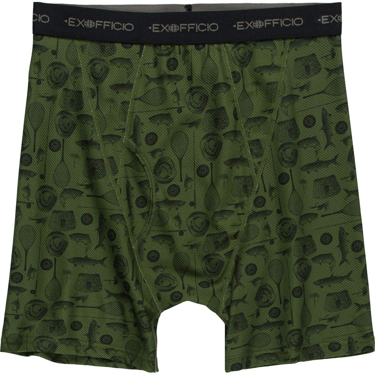 ExOfficio Give-N-Go Printed Boxer Brief - Men's Alpine Green Fly Fishing, M