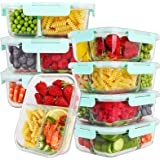 Bayco 8 Pack Glass Meal Prep Containers 3 Compartment, Glass Food Storage Containers with Lids, Airtight Glass Lunch…