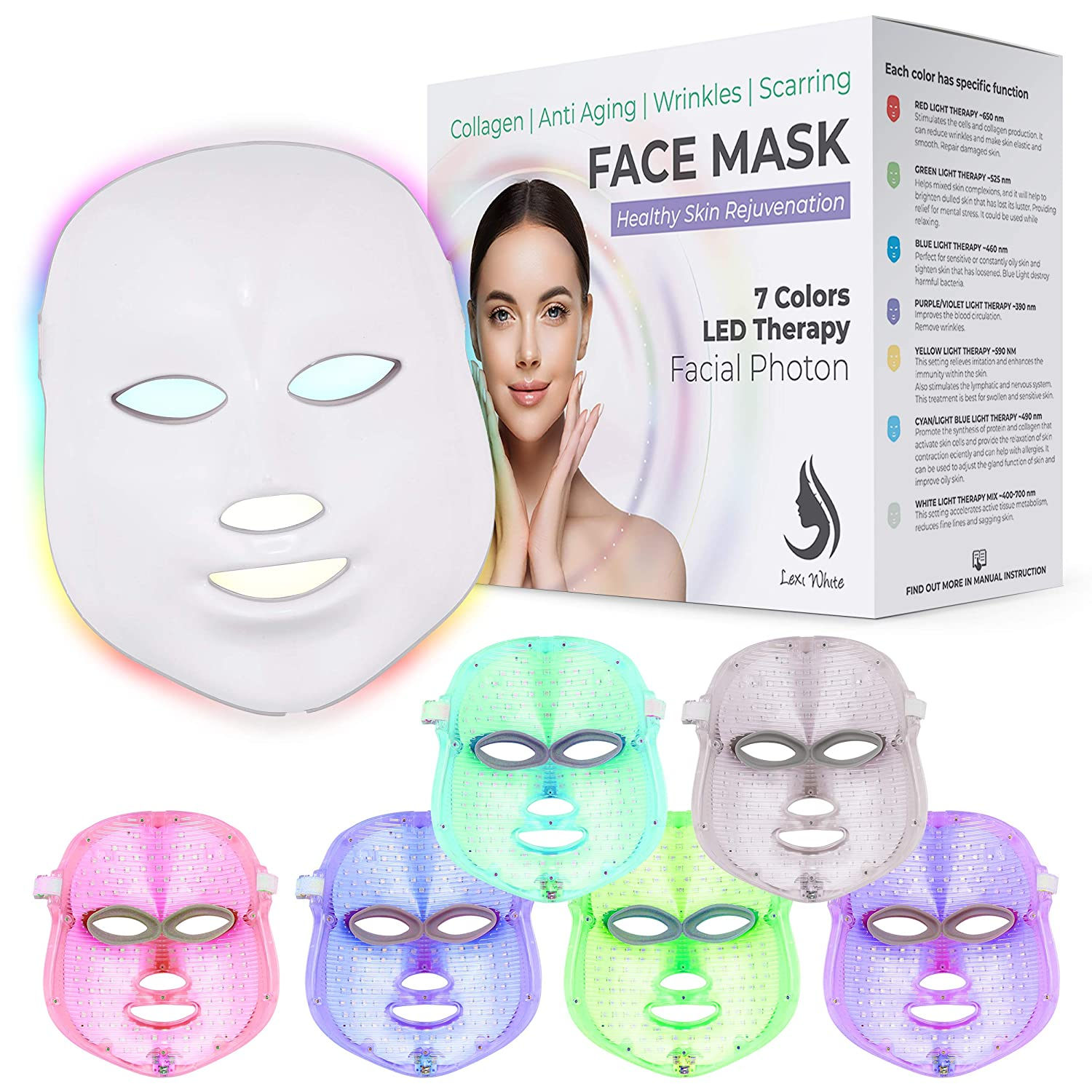 Red Light Therapy LED Face Mask 7 Color | LED Mask Therapy Facial Photon For Healthy Skin Rejuvenation | Collagen, Anti Aging, Wrinkles, Scarring | Korean Skin Care, Facial Skin Care Mask Updated Version (Version 2) (White)