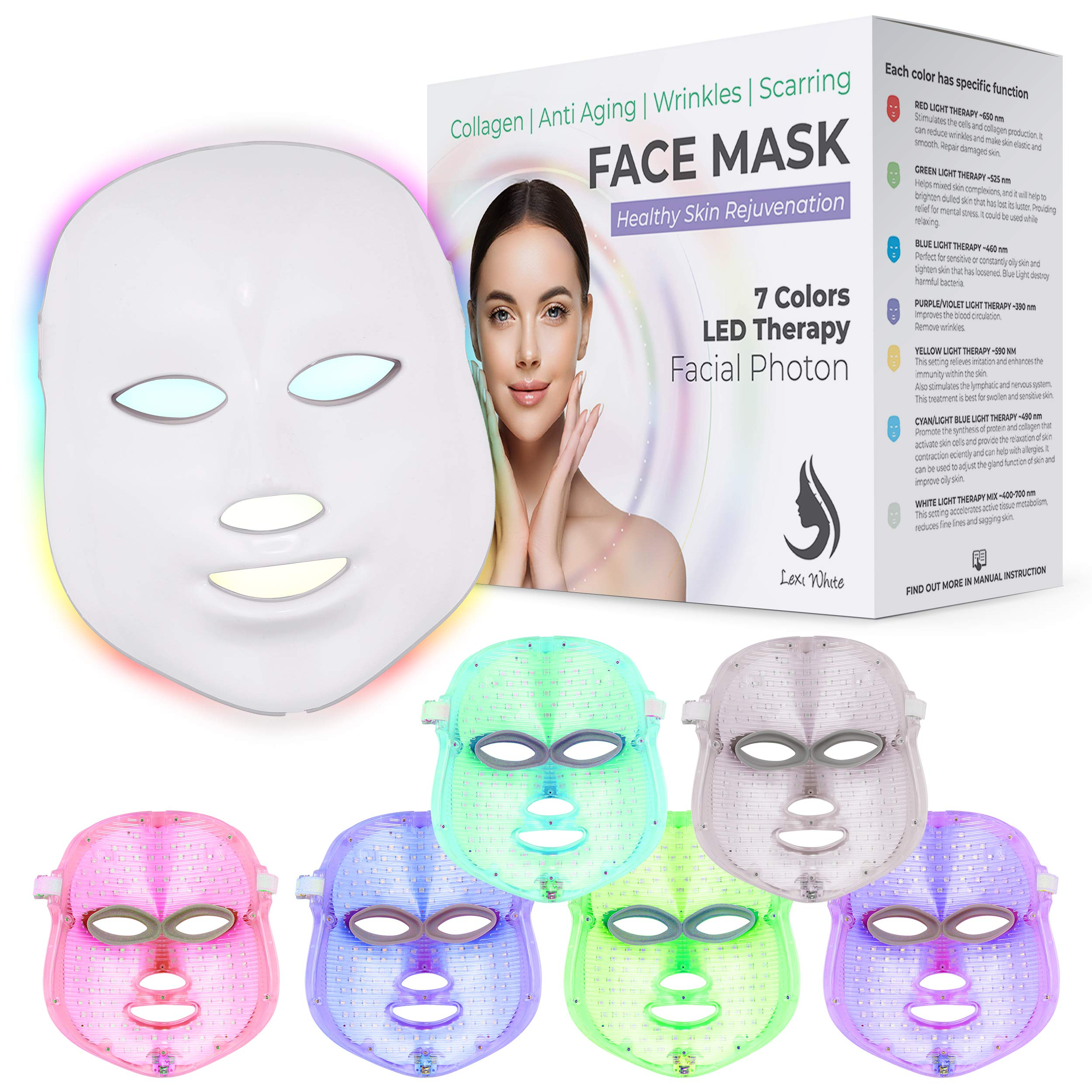 Red Light Therapy LED Face Mask 7 Color