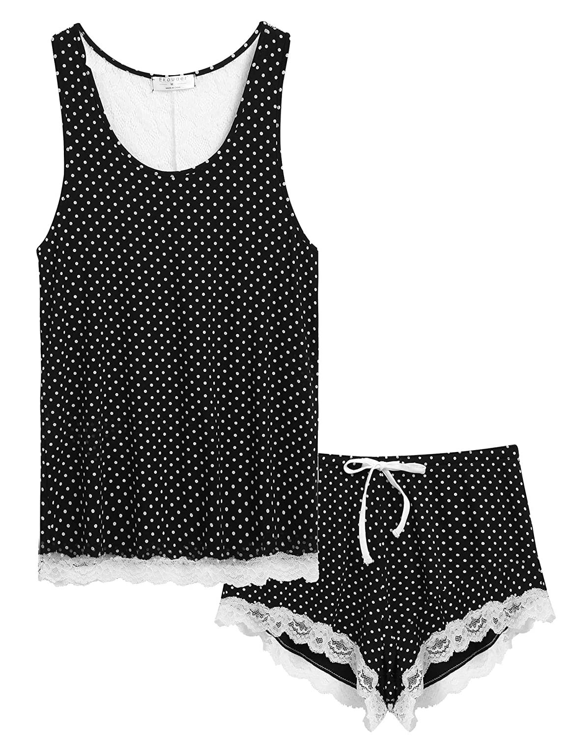 Ekouaer Womens Sleepwear Sleeveless Pajama Set Tank Top and Shorts(S-XXL)