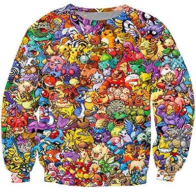 42c8dce6f73893 Amazon.com  Unisex Pokemon 3D Sweatshirt Anime Sweat Print Pikachu Hoodies  Tops  Clothing