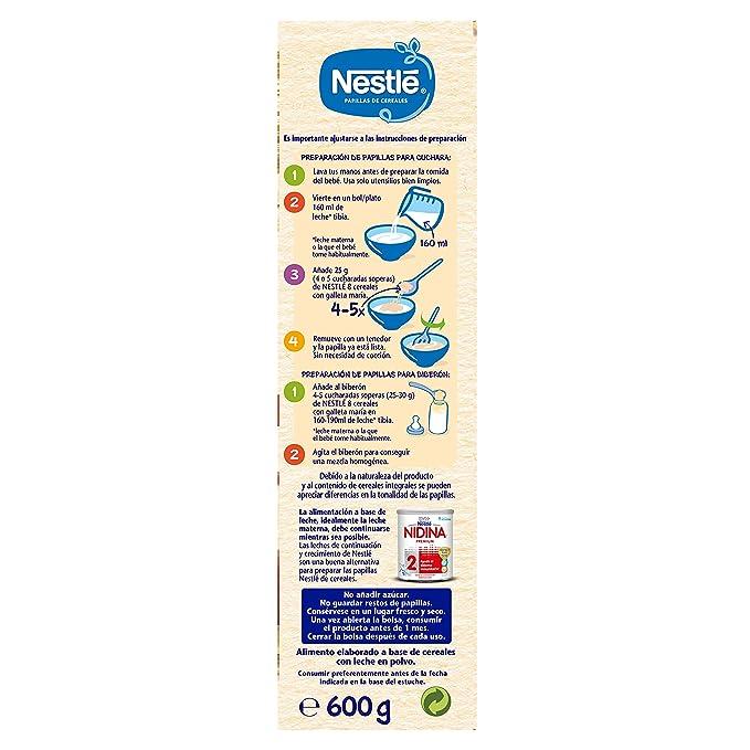 Nestlé Papilla 8 cereales con galleta María - Alimento Para bebés - Paquete de 6x600 g - Total: 3.6kg