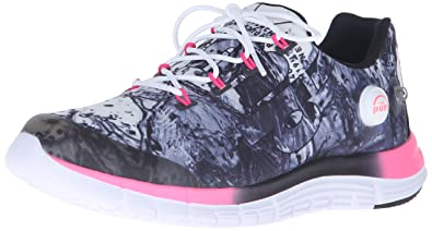 Reebok Women's Zpump Fusion Splash Running Shoe, Black/White/Solar Pink, 6
