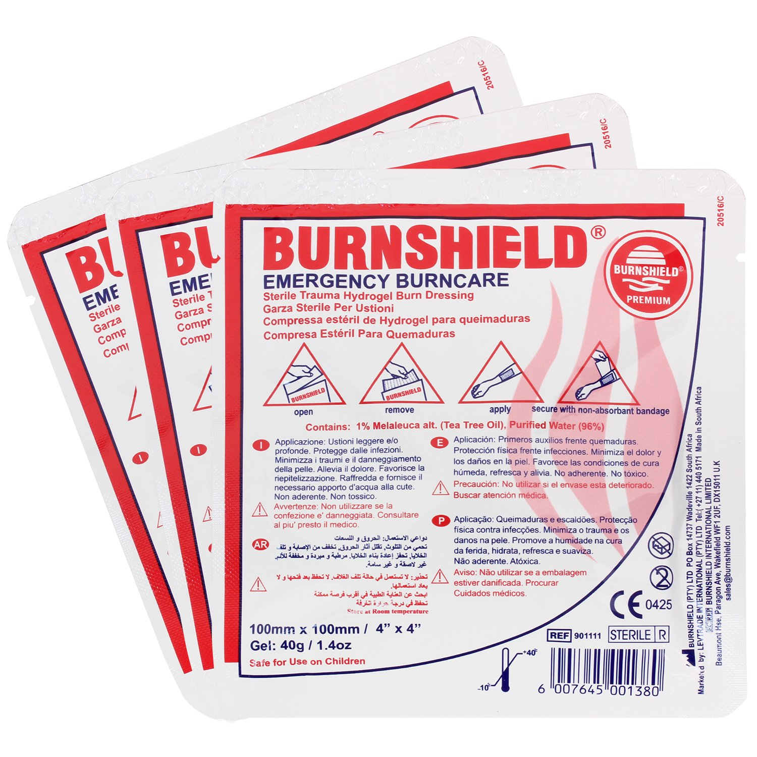 Burnshield 4'' X 4'' Burn Dressing, Sterile (Pack of 3)