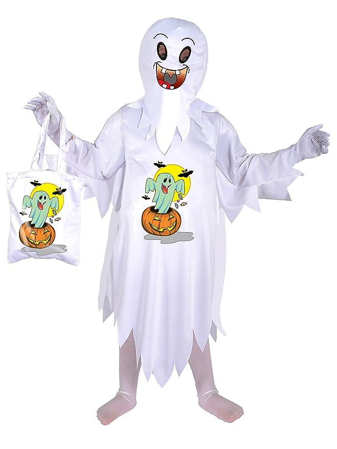 FIORI PAOLO fantasmas disfraz niño con bolsa porta-dolci, blanco 4 ...