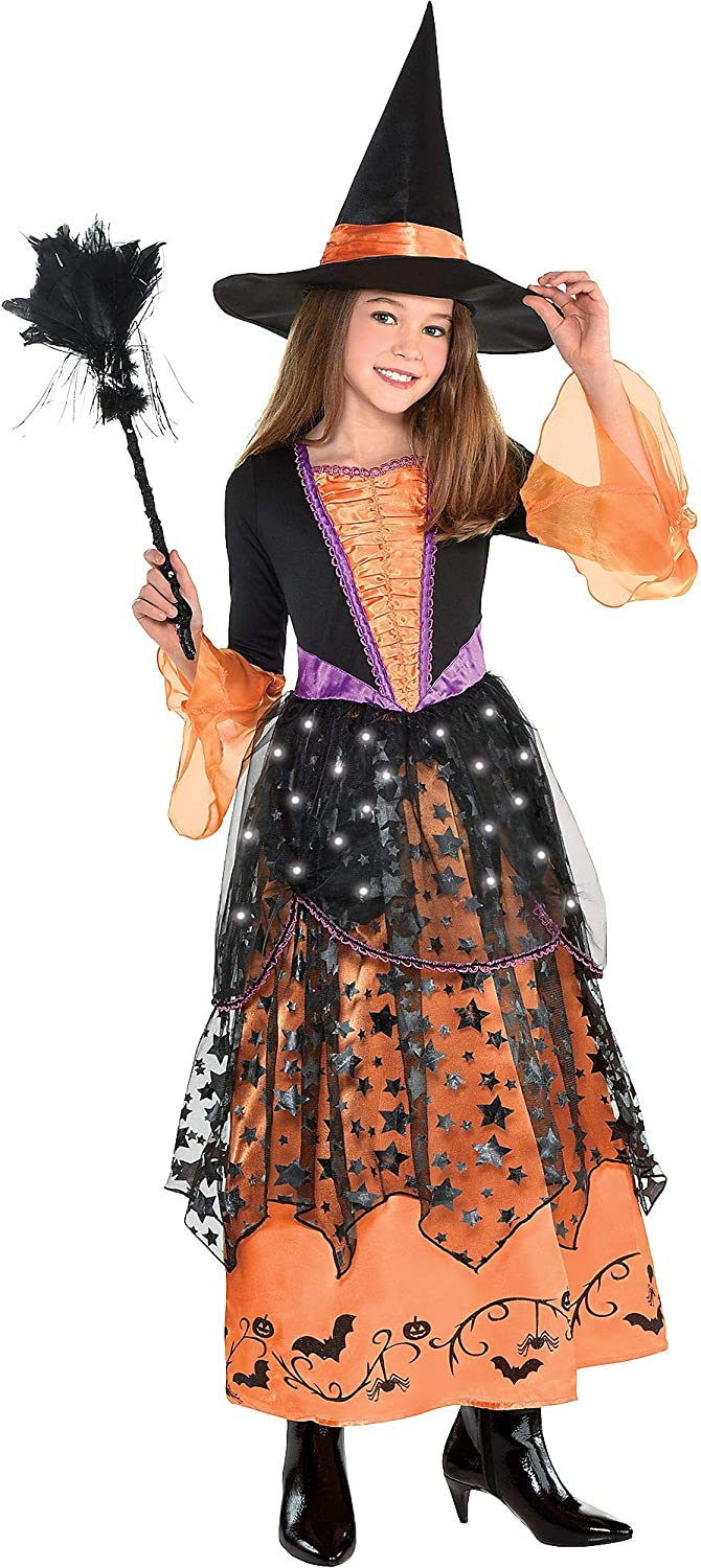 Suit Yourself Light-Up Magical Witch Halloween Costume for Girls, Includes Accessories, Multicolor, Large