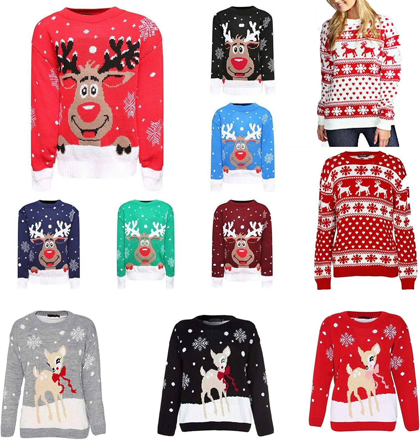 New Unisex Kids Jumper Christmas Xmas Boys Girls Childrens Knitted Top Winter Novelty Sweater Reindeer Rudolph AGE 3-12