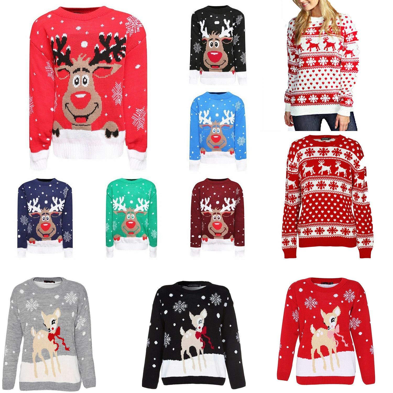 Miss Trendy Ragazze dei Bambini di Natale novit/à Natale Retro Vintage Jumper Maglione