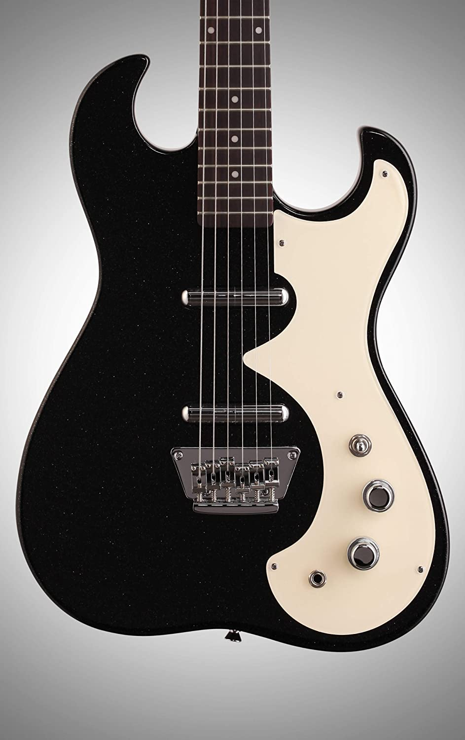 Black//Silver Flake Silvertone Classic 1449-BSF Solid-Body Electric Guitar