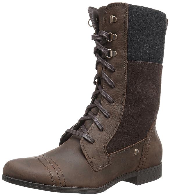 Amazon.com | Hush Puppies Womens Fidda Maisie Combat Boot, Dark Brown, 8.5 M US | Mid-Calf
