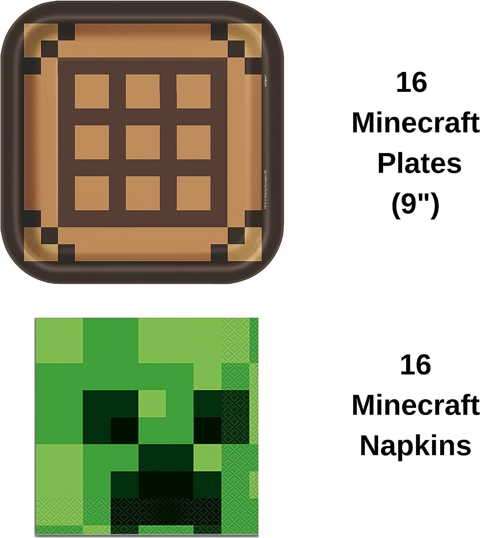 Amazon.com: Zucca Party Minecraft – Pack de 116 piezas de 16 ...