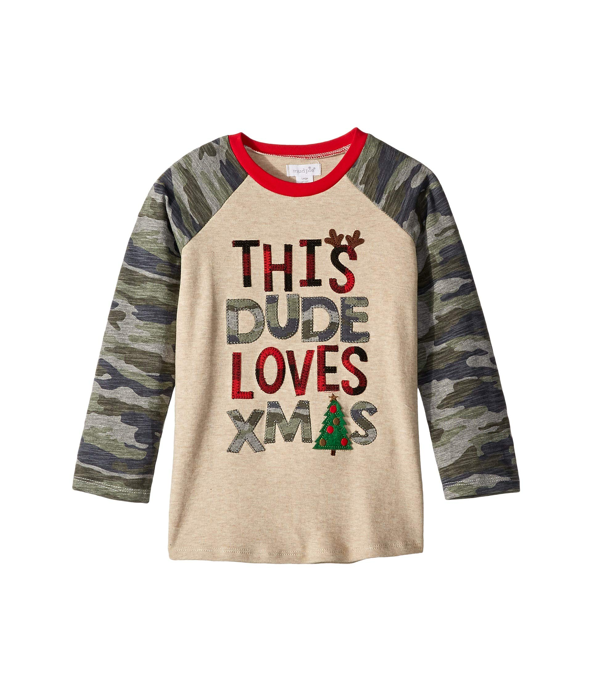 Mud Pie Baby Boy's Camo Christmas Long Sleeve Raglan T-Shirt (Infant/Toddler) Gray MD (2T-3T Toddler) by Mud Pie