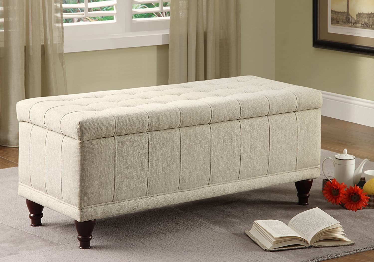 amazoncom homelegance nf lift top storage bench with tufted  - amazoncom homelegance nf lift top storage bench with tufted accentsbeige fabric kitchen  dining