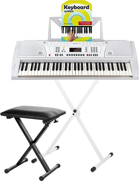 FunKey 61 Plus Keyboard blanco set. incl. soporte para teclado, banqueta