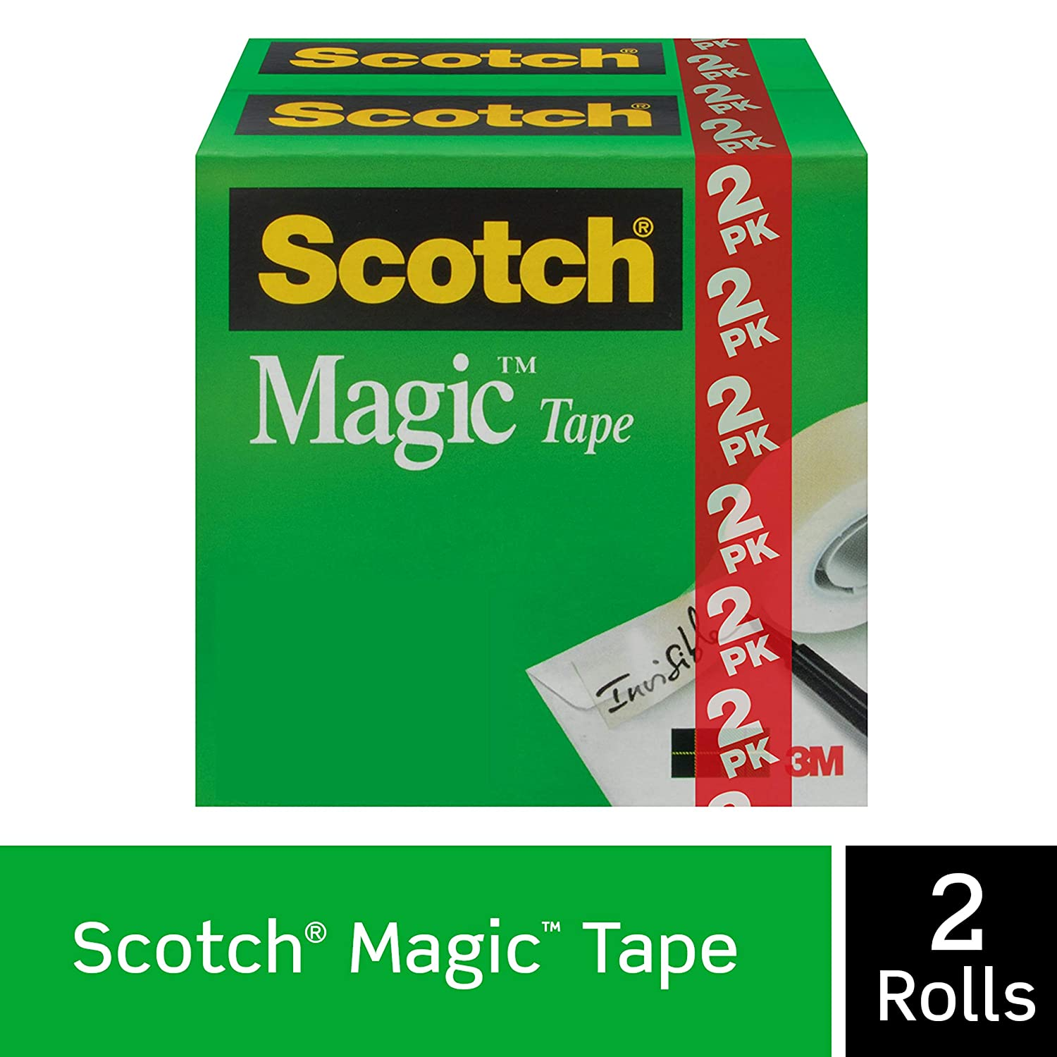 Scotch Brand Magic Tape, Numerous Applications, Engineered for Repairing, Great for Gift Wrapping, 3/4 x 1000 Inches, Boxed, 2 Rolls (810K2)