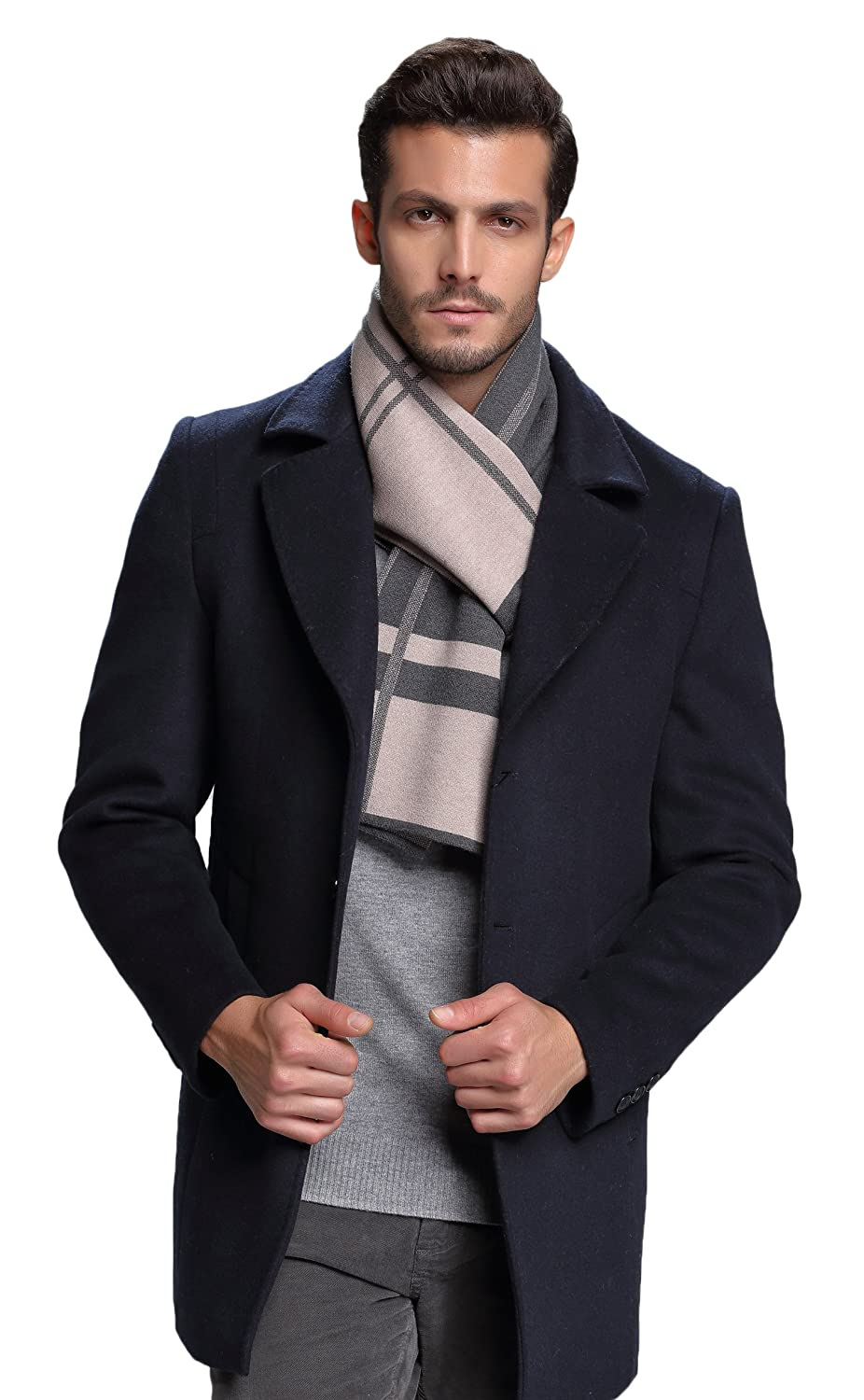 RIONA Men's Winter Cashmere Feel Australian Wool Soft Warm Knitted Scarf with Gift Box(Beige) RIW8167Beige