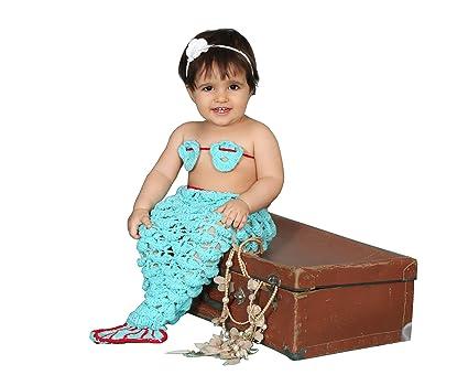Disfraz de ganchillo para recién nacido, diseño sirenita, conjunto de punto ideal para sesiones de fotos azul azul
