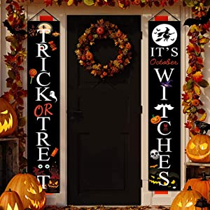 linki Halloween Decorations Outdoor | Trick or Treat & It's October Witches Halloween Signs for Front Door or Indoor Home Decor | Porch Decorations | Halloween Welcome Signs