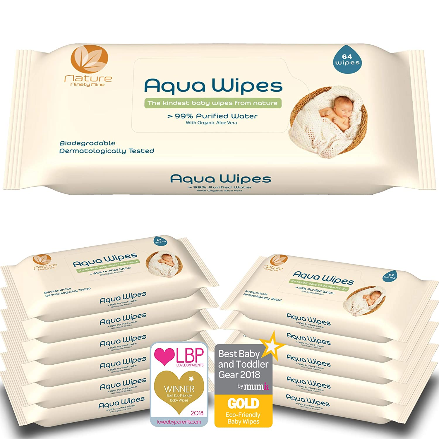 Aqua Wipes Baby Wipes, (Carton of 12 x 64 wipe packs (768 Wipes)), Newborn wipes, AQW64F, Vegan, PLASTIC FREE, Paraben Free and Biodegradable wipes, 99.6% Purified Water, NHS APPROVED Clinicept Healthcare AQW64F12P