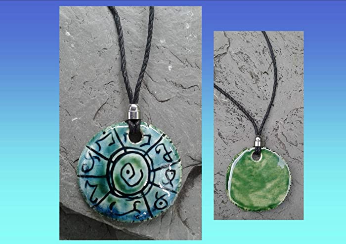 Amazon Lemurian Necklace Atlantean Pendant Ceramic Mu Amulet