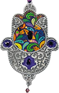 Hamsa Wall Decor, Wall Hanging Art, Handcrafted in Unique Design, Home Jewelry, Bohemian Style, Judaica Gift, Hand of Miriam, Hand of Fatima, for Home Blessing and Great Fortune, Antique Silver