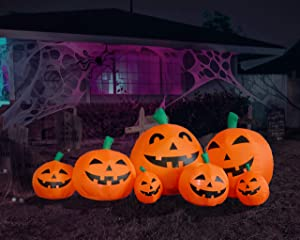 BZB Goods 7.5 Foot Long Halloween Inflatable Pumpkins LED Lights Decor Outdoor Indoor Holiday Decorations, Blow up Lighted Yard Decor, Lawn Inflatables Home Family Outside