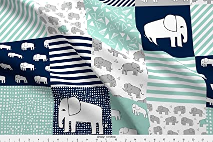 Spoonflower Cheater Quilt Fabric Elephants // Navy and Mint Elephant Fabric  Nursery Wholecloth Quilt Squares Crib Sheet Nursery by Andrea Lauren